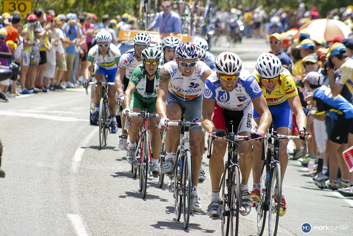Taken at the top of Willunga Hill at the 2004 Tour Down Under. Luke Roberts leads an impressive group of Aussies.