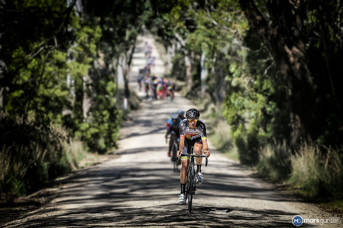 The dirt section on Stage 2 of the Adelaide Tour brings a new challenge to the riders. Rhys Gillett went on the attack at this year's race.