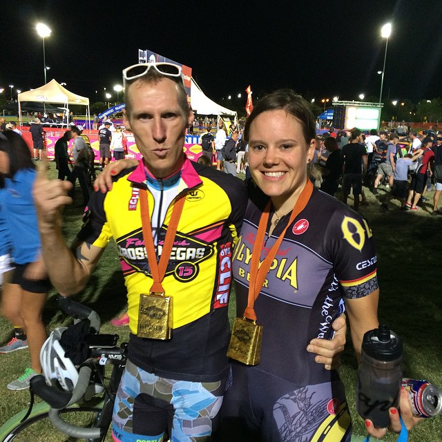 Molly Cameron pictured here at CrossVegas (with Ella editor Anne-Marije Rook) where Cameron won the men's industry race.