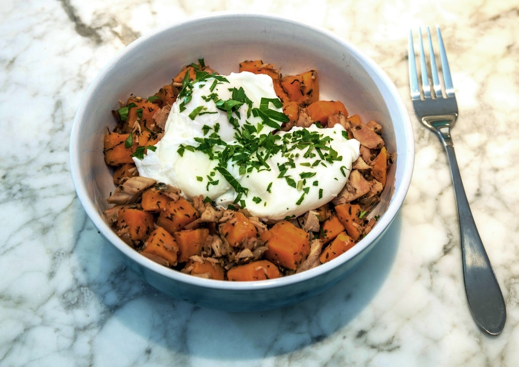 Roasted sweet potatoes and poached eggs.