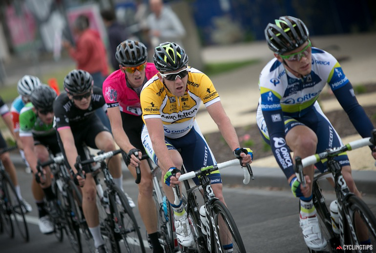 Matt Goss won stage 2 of this year's Bay Crits and rode stage three in the leader's yellow jersey.