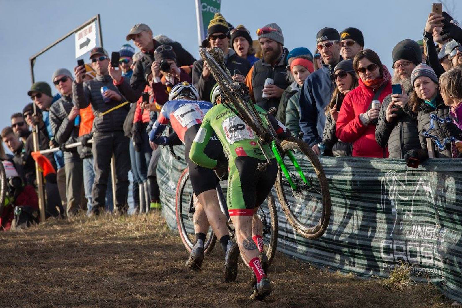 Jeremy Powers (Aspire Racing) and Stephen Hyde (Cannondale) at the 2015 Volkswagen Jingle Cross. Photo: Wil Matthews.
