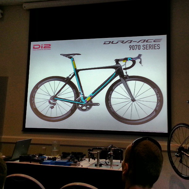 At a Shimano Di2 info session. Wiring cleaned up massively. Looks great (Instagram)