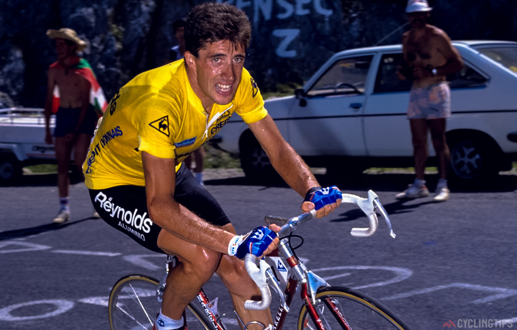 On his way to winning a first Tour de France in 1988 for the Reynolds team.