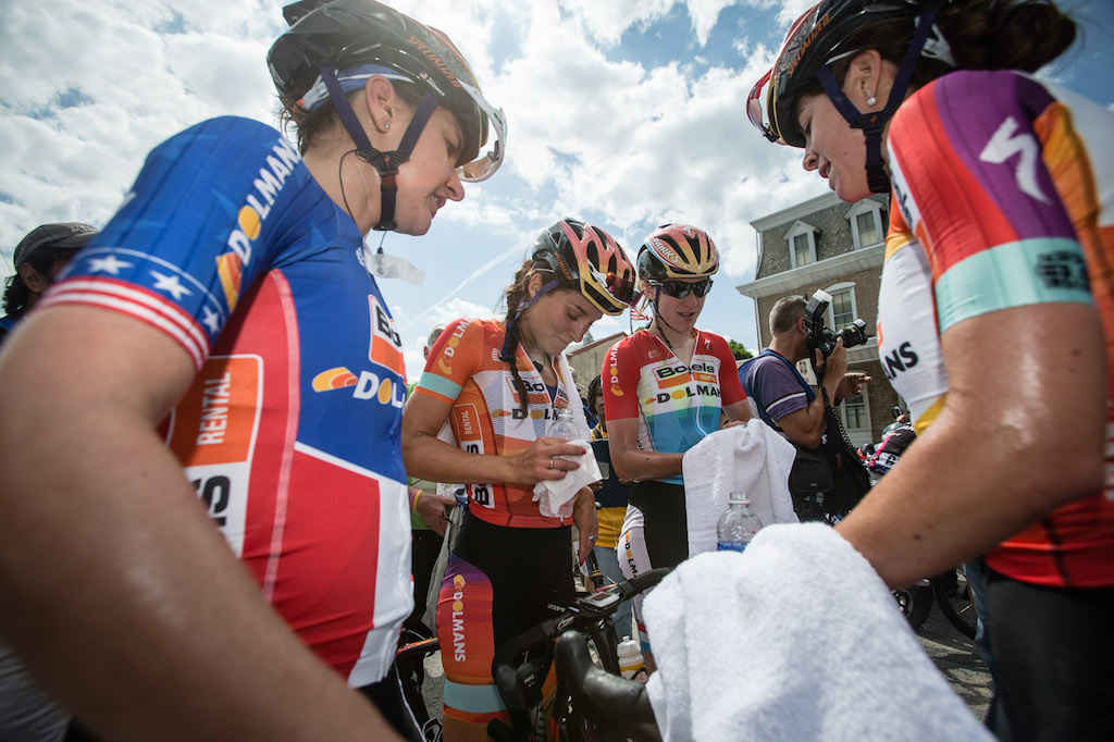 Boels-Dolmans celebrate the team effort that earned Lizzie Armitstead her victory in Philly. The four-rider squad also won the team classification, with two riders in the top six and all four in the top 25.