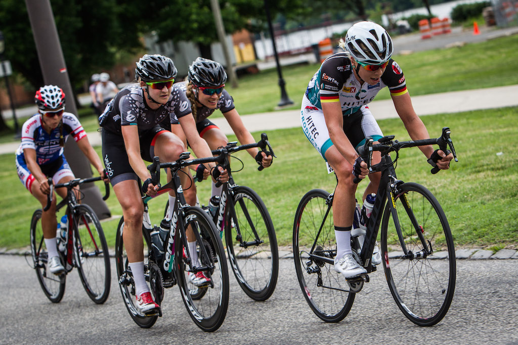 Charlotte Becker was one of the many Hitec riders on the attack during the Philly Cycling Classic. Velocio-SRAM riders Loren Rowney and Tayler Wiles closely mark Becker as she attempts to accelerate away from the field.