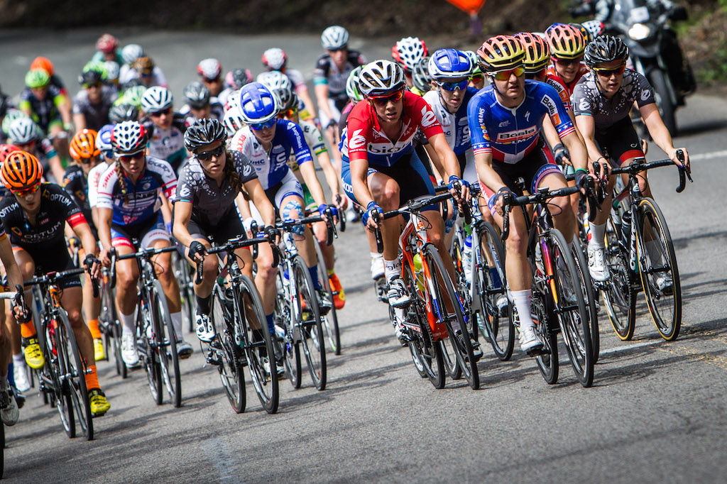 Megan Guarnier (Boels-Dolmans) and Iris Slappendel (Bigla) both sport the red, white and blue of national champion with Slappendel road champion of Netherlands and Guarnier road champion of the US. Both riders could be spotted on or near the front throughout the race.