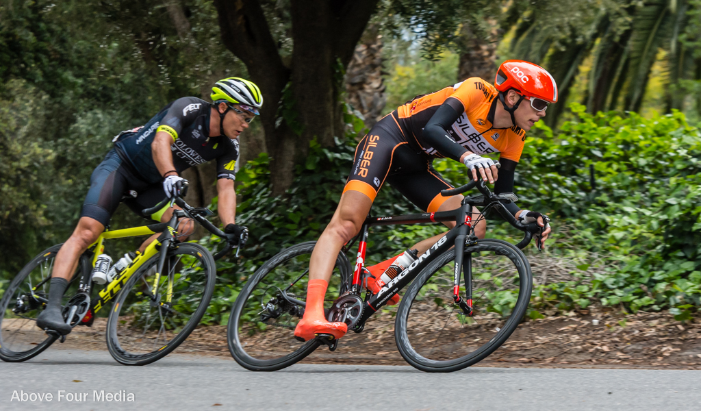 Matteo Dal-Cin (Silber Pro Cycling) and Travis McCabe (Holowesko-Citadel) were the day's bigger winners after the Sunset Loop road race, as Dal-Cin took the overall victory and McCabe took the final stage, vaulting into third overall. Photo: John Holderness/Above Four Media.