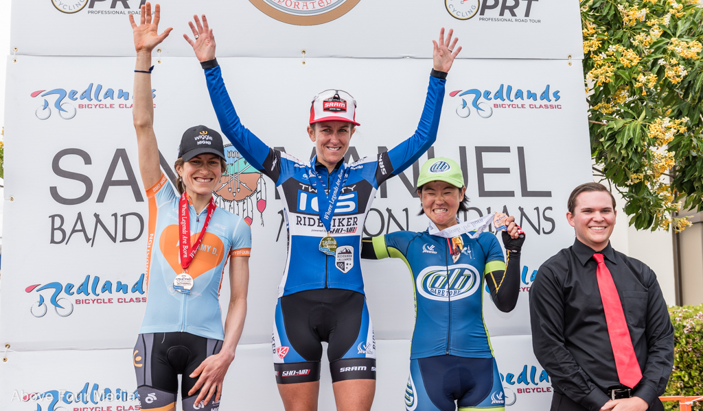 The final podium of the 2016 Redlands Classic, from left: Mara Abbott (Amy D. Foundation), Kristin Armstrong (Twenty16-Ridebiker), and Eri Yonamine (The Dare to Be Project). Photo: John Holderness/Above Four Media.