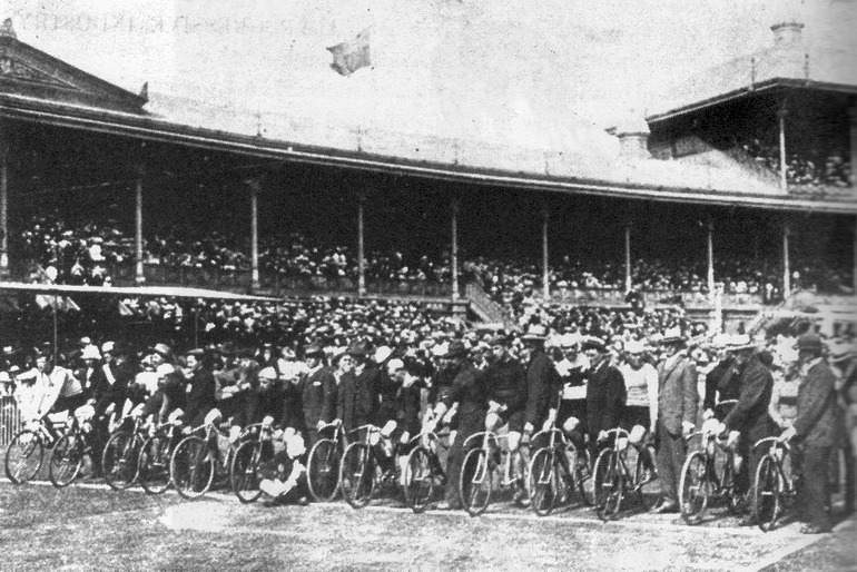 """Start line of the 1896 Austral at the Melbourne Cricket Ground (Image via """"Wheeling Matilda"""" by Jim Fitzpatrick)"""
