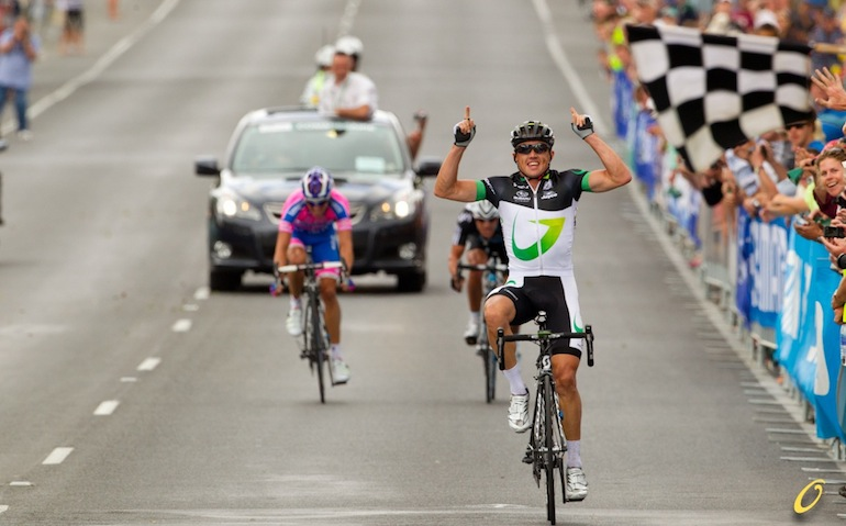 Simon Gerrans wins the national championship road race in 2012 ahead of Matty Lloyd and Richie Porte.