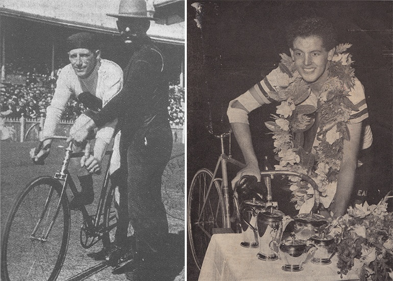 """Left: 'Plugger' Bill Martin. Image via Melbourne Punch, December 19, 1901, republished in """"Confessions of a Bicycle Nut"""" by Keith Dunstan in 1999. Right: The winning Austral smile from young Tasmanian Ron Murray, winner of the world's richest track handicap race. Image via The Australian Cyclist, February 1955."""