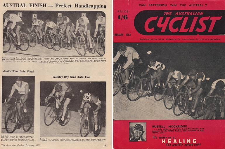 Left: Excerpt from The Australian Cycling magazine in February 1952. Right: The 1952 Austral finish showing Doug Jennings winning from Vin Nuttall (inside), next to him are Ray McKay, Bob Main and Sid Patterson, Whilst Roy O. Warren, not shown, finished along the duck boards (image via The Australian Cyclist, March 1953).