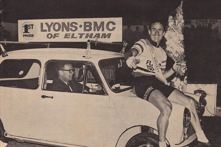 The 1969 Austral winner, Charlie Walsh, sits on his prize for a lap of honour (image via The Australian Cyclist, March 1969)