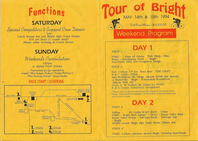 Race pamphlet for the 1994 Tour of Bright.