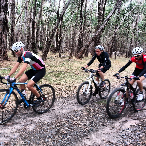 2 national road champions hitting the dirt today. @breakaway12 and @gtrowell and national MTB masters champ Luke Sproson (Instagram)