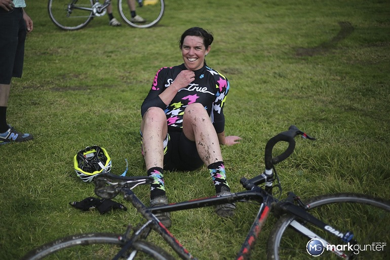 Jenny Macpherson takes a breather after her win.