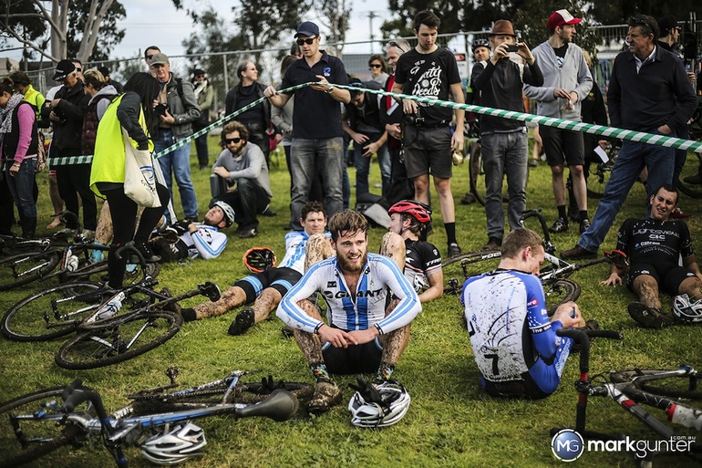 Lewis Rattray (center) amid the post-race carnage.