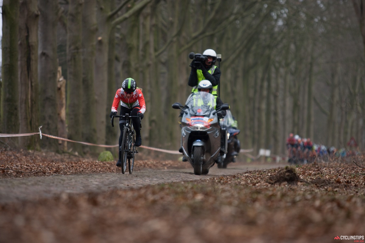 Alena Amialiusik (Velocio-SRAM) is on the attack on the longest cobbled section of the race.