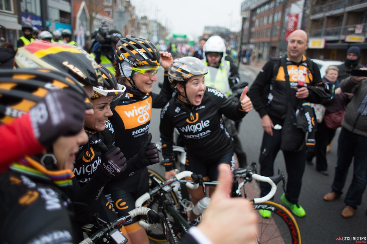 All smiles for Wiggle Honda following a true team effort to deliver Jolien d'Hoore to the win