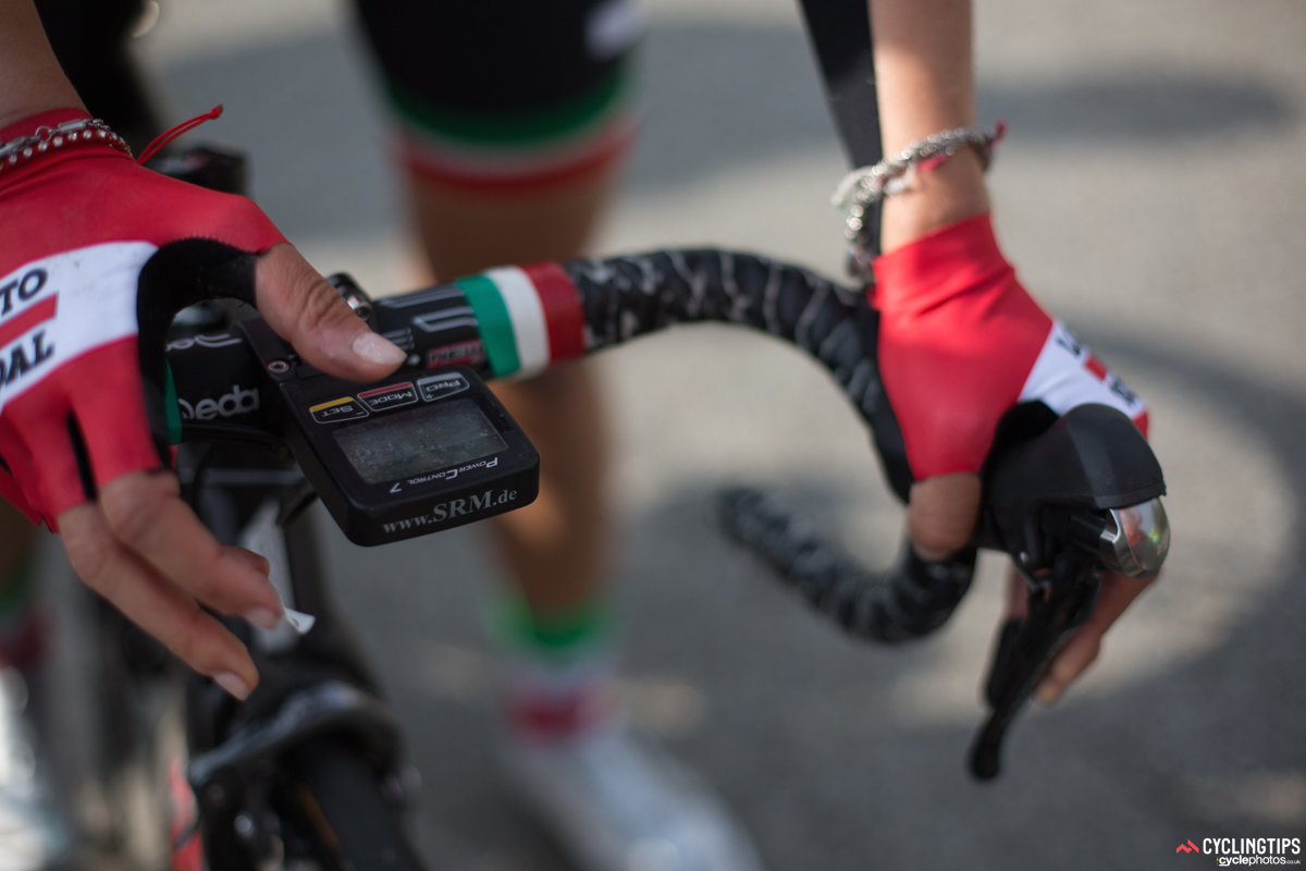 Italian national road champion Elena Cecchini sports the tricolore from head to toe - and her bike even gets in on the red, white and green action.