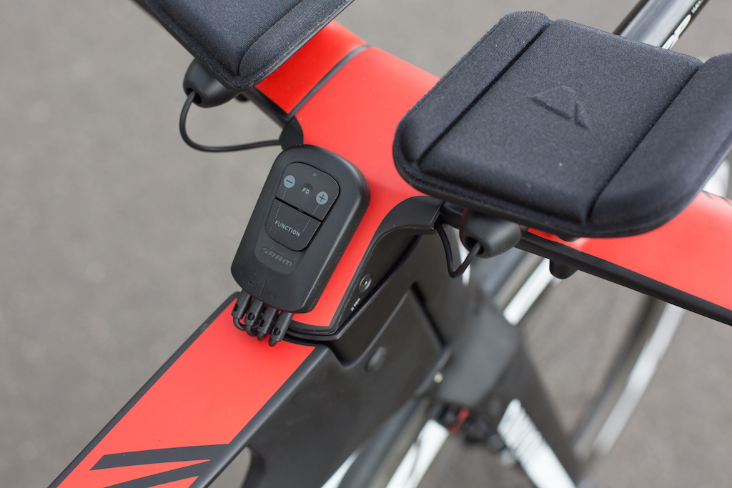 """The """"Blipbox"""" is required for time trial bikes as there are no brake hoods for the Blip ports or batteries. Also on the Blipbox are micro-adjustments for the rear derailleur."""