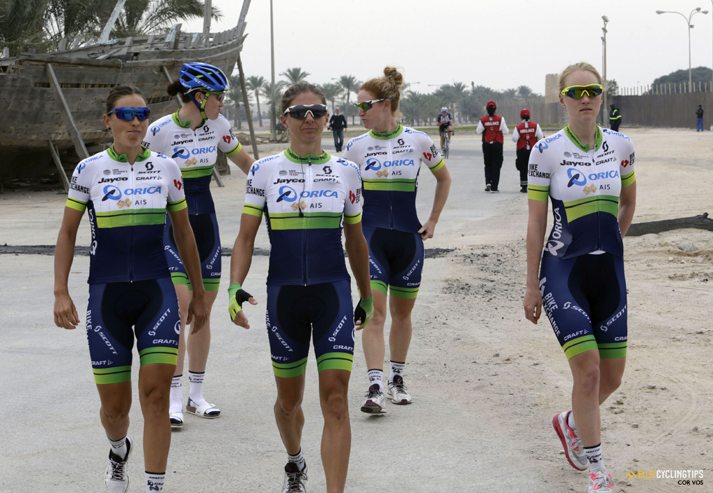 Orica-AIS pictured during the 2016 Ladies Tour of Qatar stage 2, from Sheikh Faisal Museum to Al Khor Corniche.