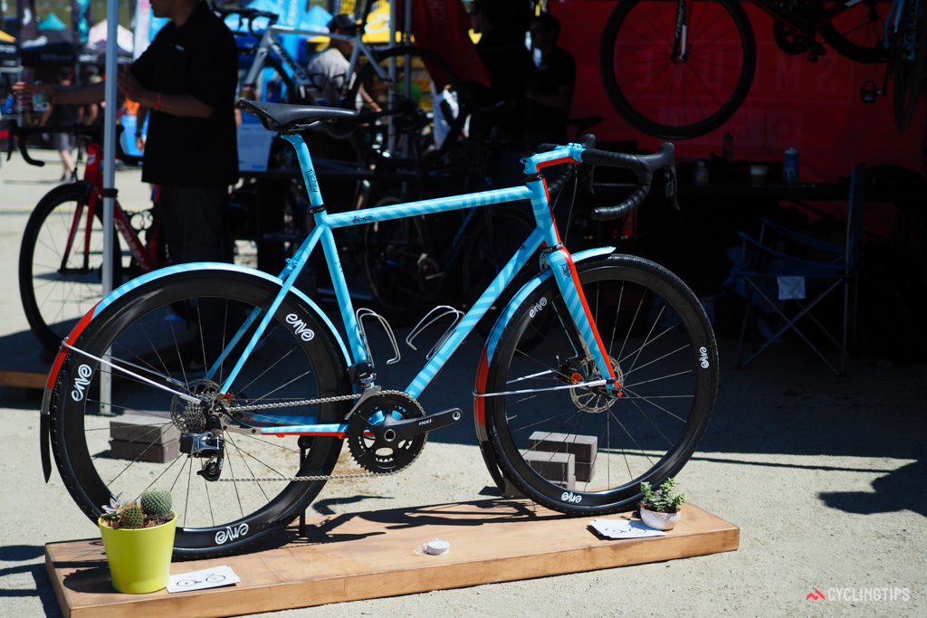 Franco Bicycles showed off its latest Grimes adventure/gravel/cyclocross bike, resplendant in a custom paint job by the folks at Bicycle Crumbs.