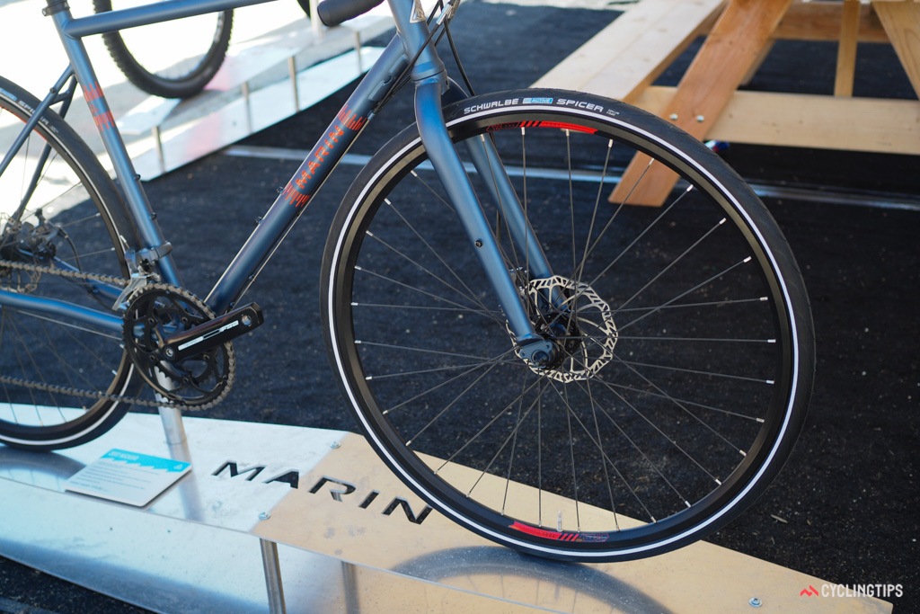 The included build kit is quite modest and as you'd expect given the price tag, the Marin Nicasio is rather heavy. But there's room for 40mm tyres and a full complement of braze-ons - just add bags and head off into the sunset.