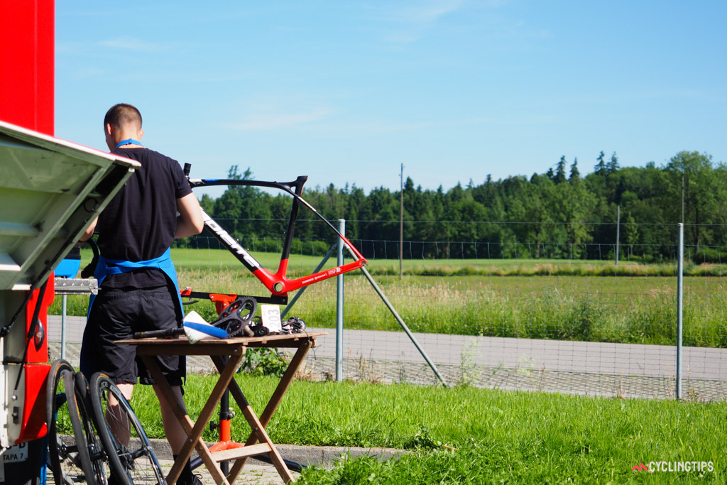 The life of a team mechanic isn't exactly glamorous but it still beats sitting at a desk, no?