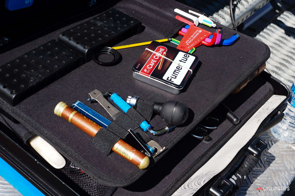 FDJ mechanic Karl Guillois stores small parts in cigarette and cigar tins - but he doesn't smoke.