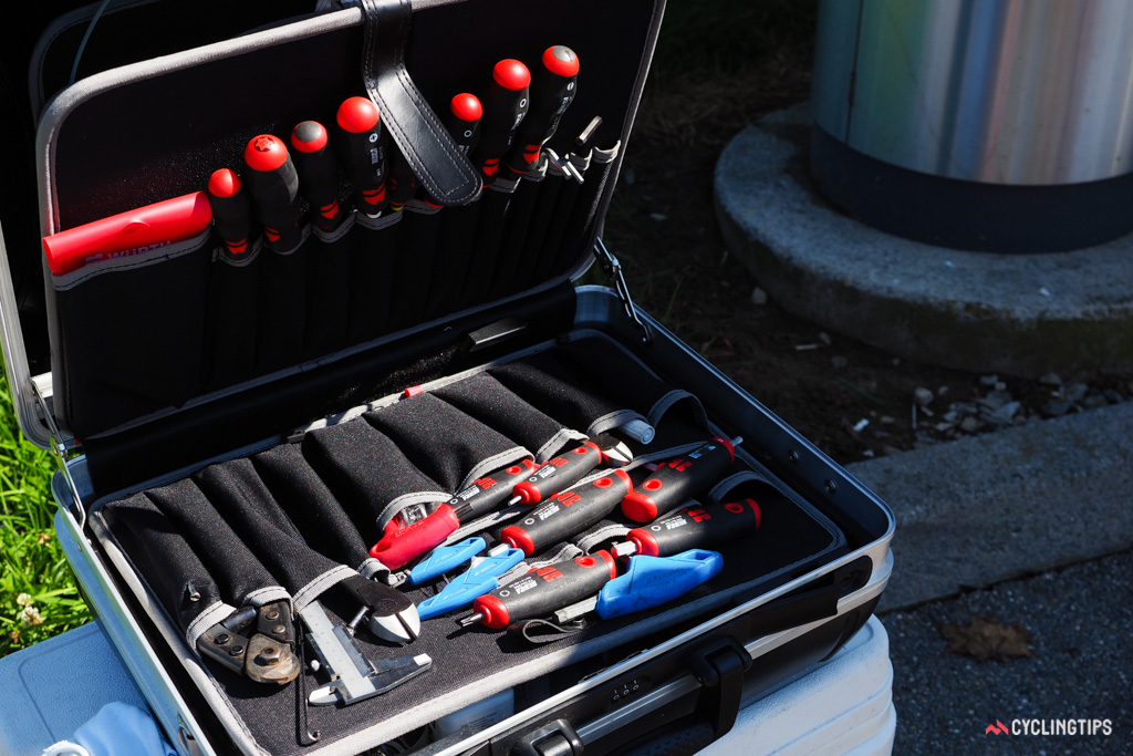 Team mechanics are meticulous when it comes to packing their tool cases.