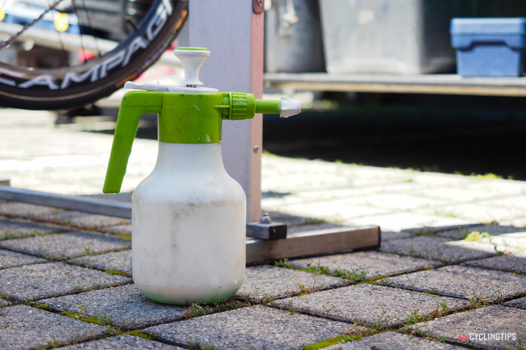 This pump-style spray bottle is typically used for fertilizing lawns and gardens. Mechanics often use them to spray bikes with degreasers and cleaners.
