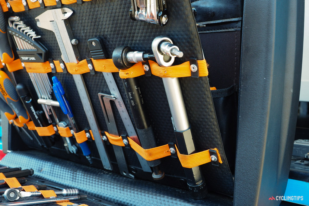 How important is proper torque to Orica-GreenEdge mechanic Xabi Remon Arana? There were no fewer than five different torque wrenches inside his case.