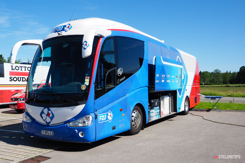 Even the team buses serve multiple purposes. In addition to transporting the riders, they also house equipment for the mechanics and soigneurs - and needless to say, they're impossible to miss.