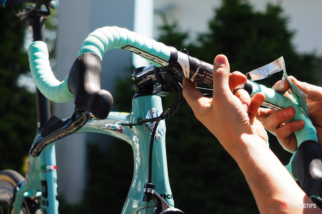 If a handlebar slips after hitting a bump, you can bet that the mechanic will hear about it later. A little friction paste goes a long way.