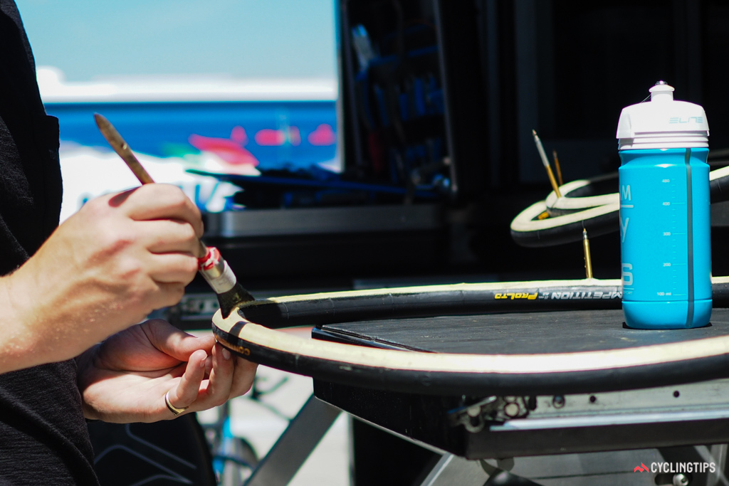 Team Sky mechanic Sam Hayes doesn't use the typical, cheap metal acid brushes that most amateurs use when gluing tires. Instead, he has his own supply of pastry brushes.