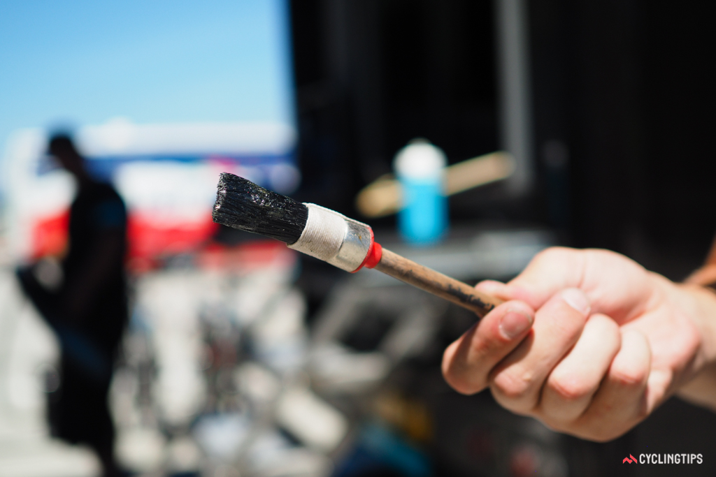 According to Hayes, the pastry brush is not only more substantial in his hands but holds more glue and covers a greater area per pass, which greatly speeds up the process.