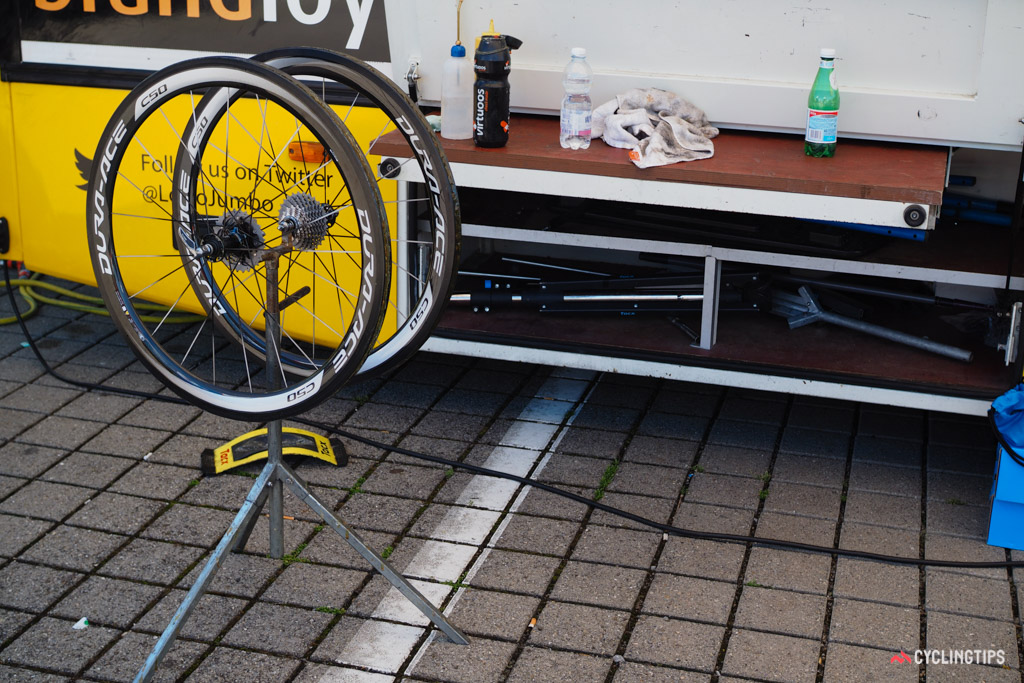 This wheel stand was purpose-built just for gluing tires.
