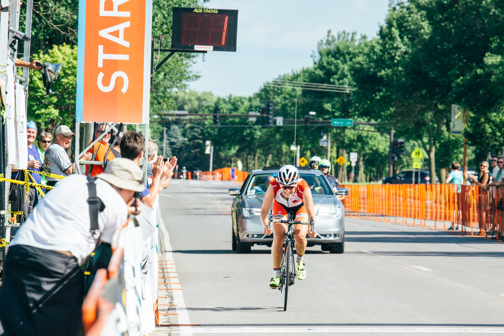 Joelle Numainville (North Memorial) displayed grit and tactical know-how with a race winning solo attack on the closing laps of the North Mankato Road Race.