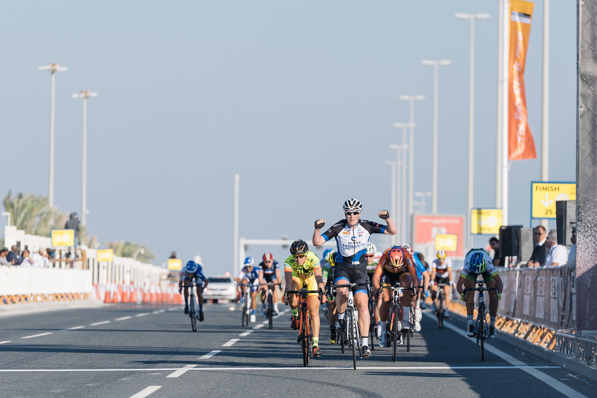 Kirsten Wild wins the opening stage of Ladies Tour of Qatar 2016.