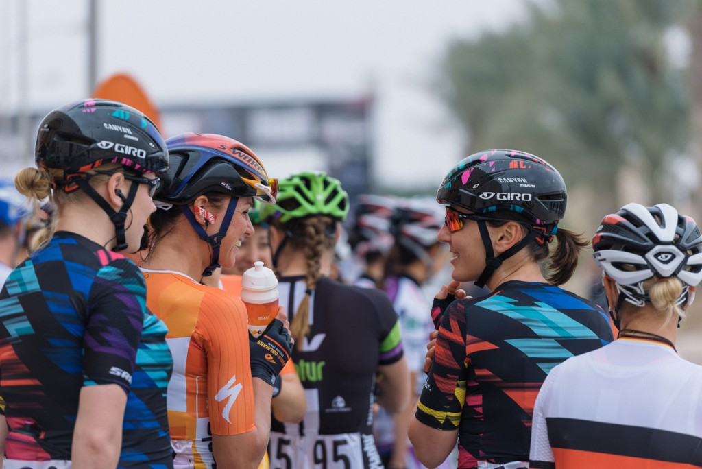 Rivals on the road but friends at sign in. Chantal Blaak (boels-Dolmans) and Lisa Brennauer (Canyon-SRAM).