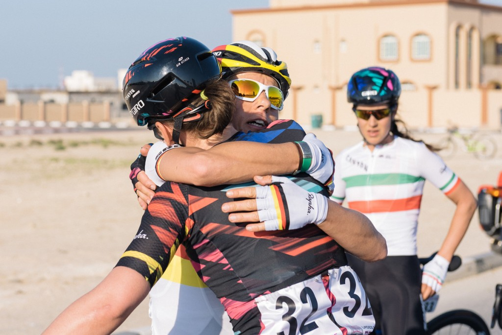 Trixi Worrack (Canyon-SRAM) embraces teammate Lisa Brennauer for her efforts to put her in the leader's jersey.