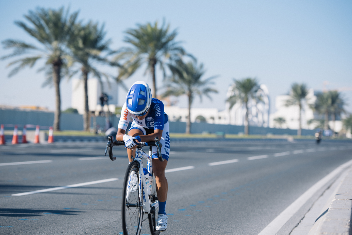 Coryn Rivera goes on a solo attack in stage 4 of the Ladies Tour of Qatar.