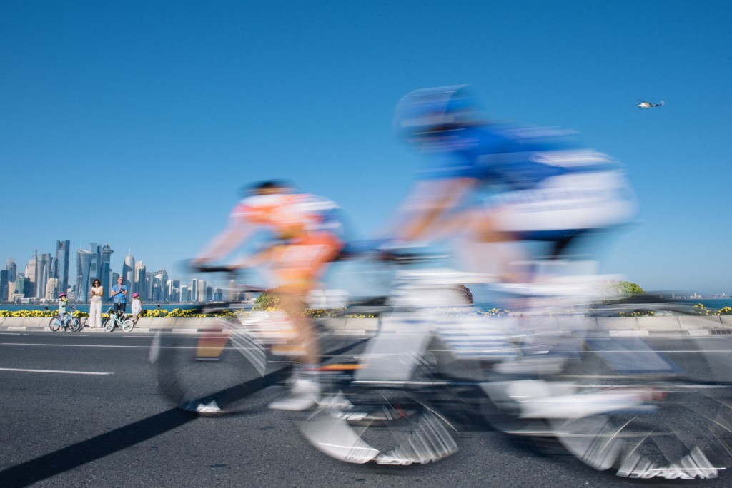 Speeding along the Doha Corniche. in stage 4 of the Ladies Tour of Qatar.