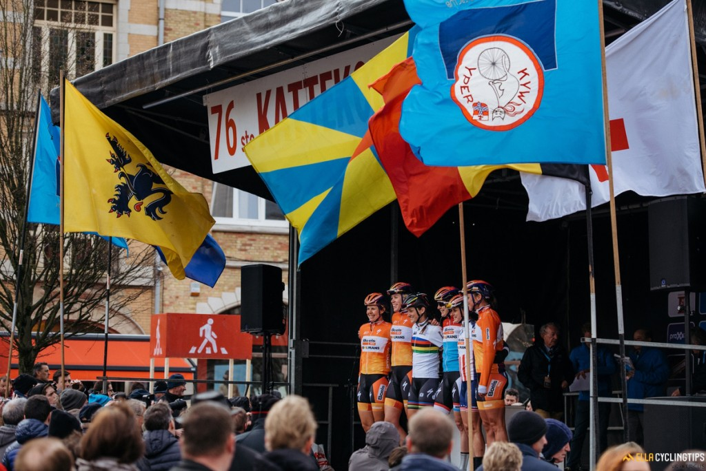 The team to beat: Boels Dolmans are presented to the crowds in Ieper.