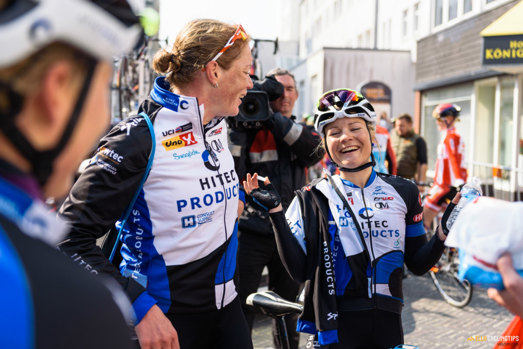 Emilie Moberg (Team Hitec) enjoying teammate Kirsten Wild's victory in stage 5 of the 2016 Energiewacht Tour just as much.