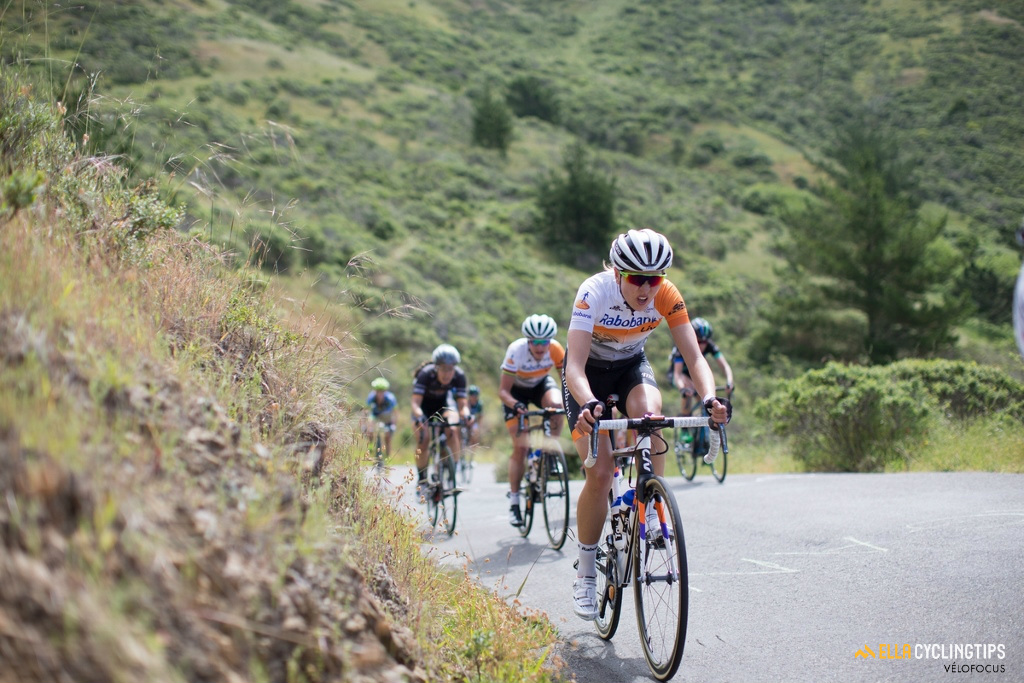 Shara Gillow (Rabo-Liv) paces Marianne Vos up the Coleman Valley Rd climb.