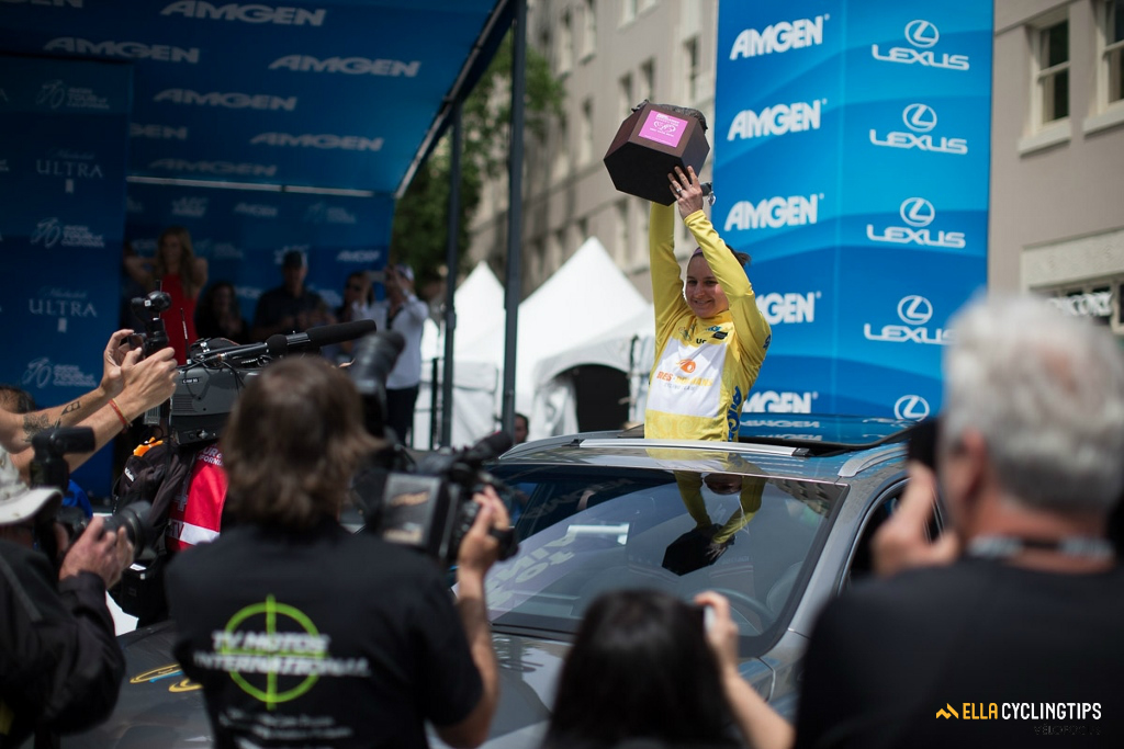 For winning the women's Tour of California, Megan Guarnier drives away with a new car.