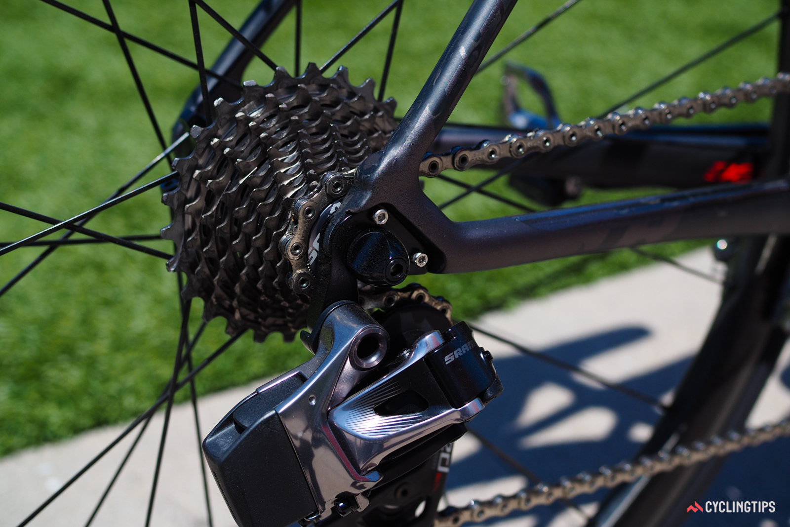 The SRAM Red eTap-equipped complete bike is purpose-built for the task with no holes whatsoever for other drivetrain types.